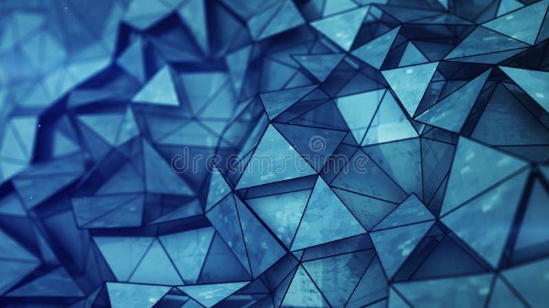 Malla polivinílica baja brillante azul acodada con la textura 3D del grunge rendir ilustración del vector