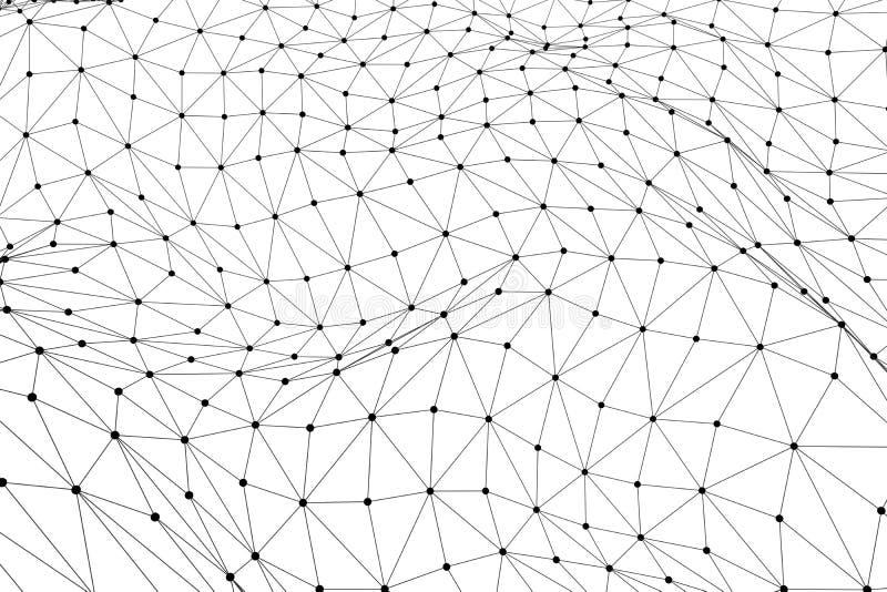 Malla polivinílica baja negra del wireframe 3D - red o estafa cibernética de Internet ilustración del vector
