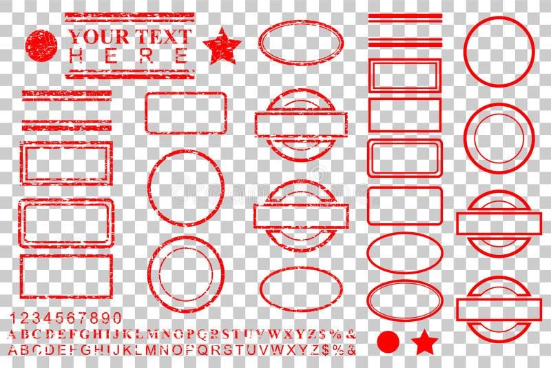 Mallalfabet, nummer, procent, dollar, prick, stjärna, rektangel, linjer oval effekt för rubber stämpel för cirkel för din bestånd vektor illustrationer