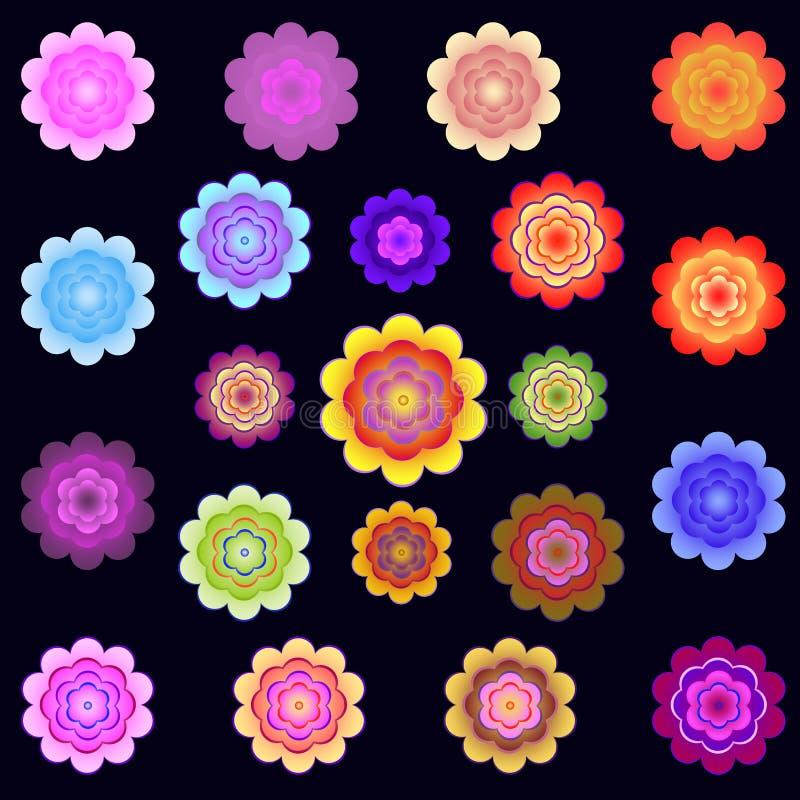 Mallar av ljusa kulöra stiliserade blommor royaltyfri illustrationer