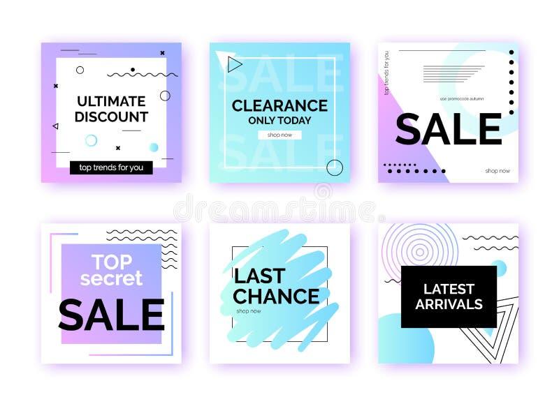 Mallar baner för social massmediastolpebefordran Geometriska fyrkantiga bakgrunder med textutrymme stock illustrationer