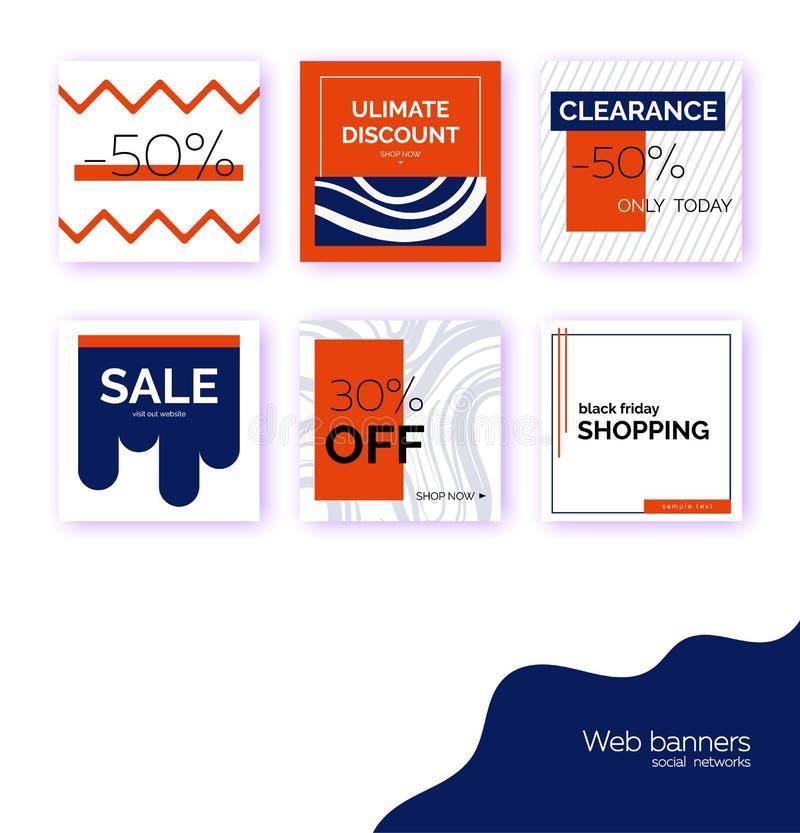 Mallar baner för social massmediastolpebefordran Geometriska fyrkantiga bakgrunder med textutrymme, abstrakta beståndsdelar som ä royaltyfri illustrationer