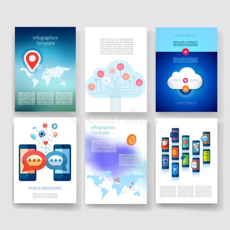 mallar Designuppsättning av rengöringsduken, post, broschyrer vektor illustrationer