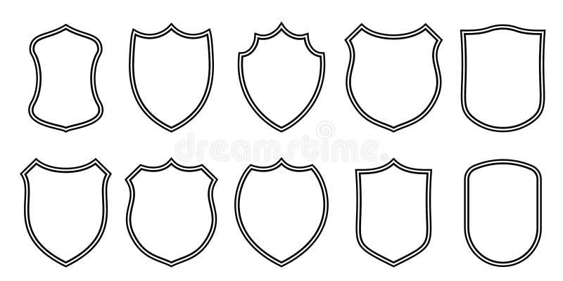 Mallar för översikt för emblemlappvektor Symboler för klubba för sport militära eller heraldiska sköld- och vapensköldmellanrums, vektor illustrationer