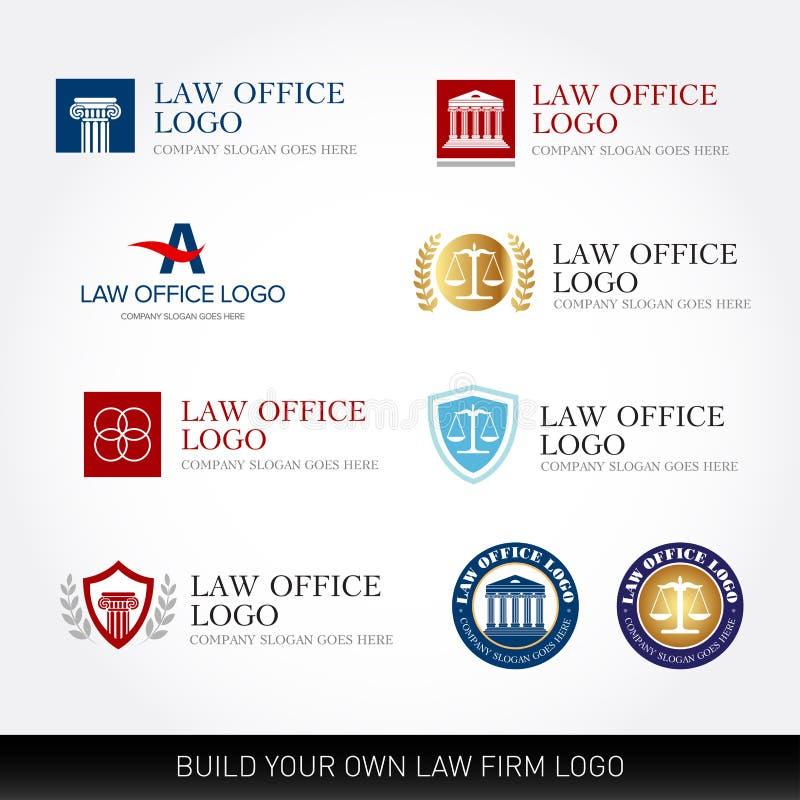 Mallar för advokatlogodesign Uppsättning för logo för lagkontor Domaren, advokatbyrålogomallar, advokatuppsättning av tappning mä stock illustrationer