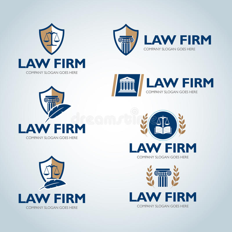 Mallar för advokatlogodesign Uppsättning för logo för lagkontor Domaren, advokatbyrålogomallar, advokatuppsättning av tappning mä royaltyfri illustrationer
