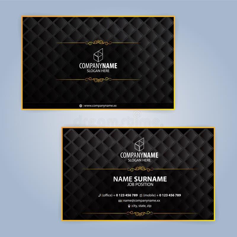 Mallar för affärskortdesign, lyxig design royaltyfri illustrationer