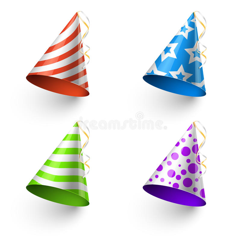 Mallar för bås för foto för vektor för hattar för födelsedagparti roliga royaltyfri illustrationer