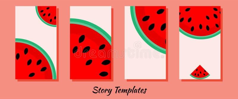 Mallar f?r ber?ttelser i sociala n?tverk f?r sommar med vattenmelon F?r f?rs?ljningar, ber?ttelser och bakgrunder Bakgrunder f?r  vektor illustrationer