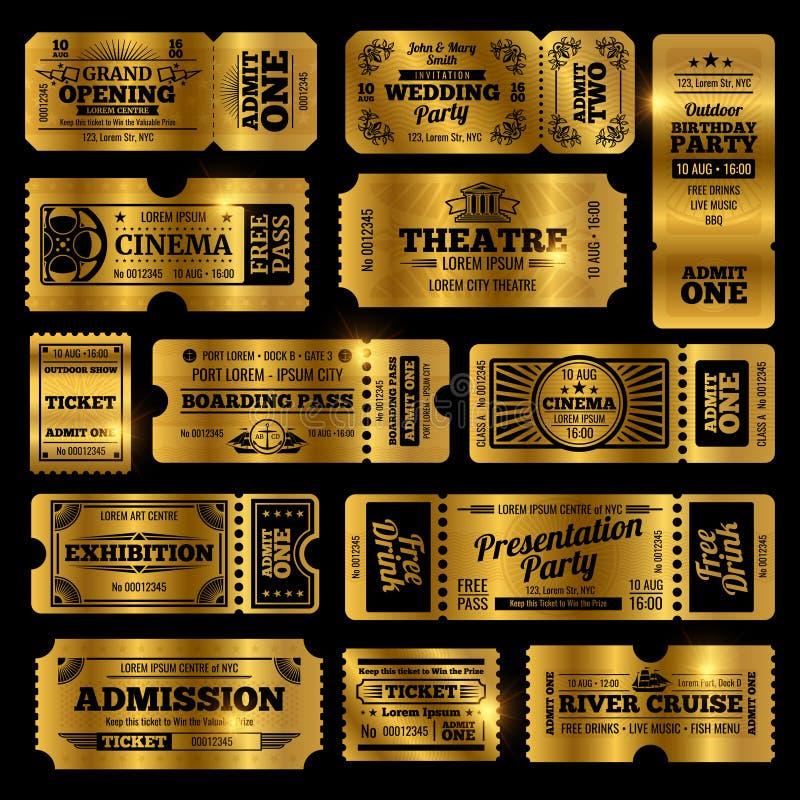 Mallar för biljetter för erkännande för cirkus-, parti- och biovektortappning Guld- biljetter som isoleras på svart bakgrund royaltyfri illustrationer