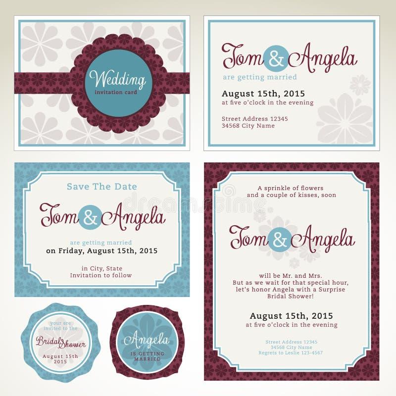 Mallar för bröllopinbjudankort vektor illustrationer