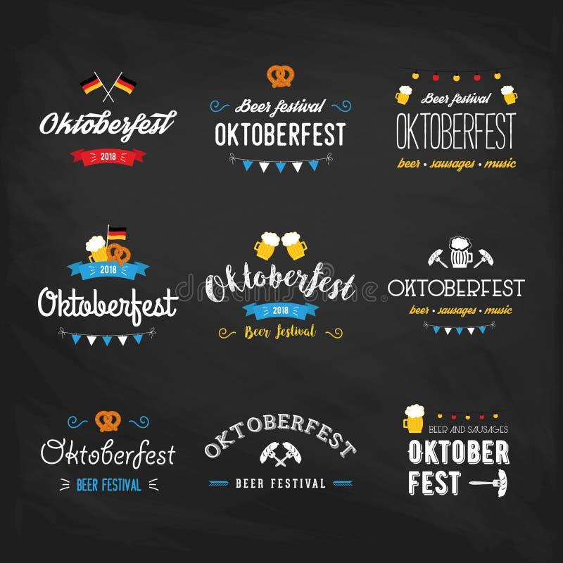 Mallar för design för beröm för uppsättning för typografi för bokstäver för Oktoberfest ölfestival märker retro typografiska, emb royaltyfri illustrationer