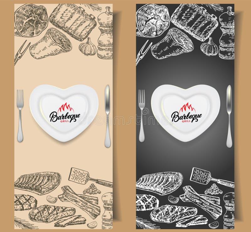 Mallar för design för grillfestreklambladvektor royaltyfri illustrationer