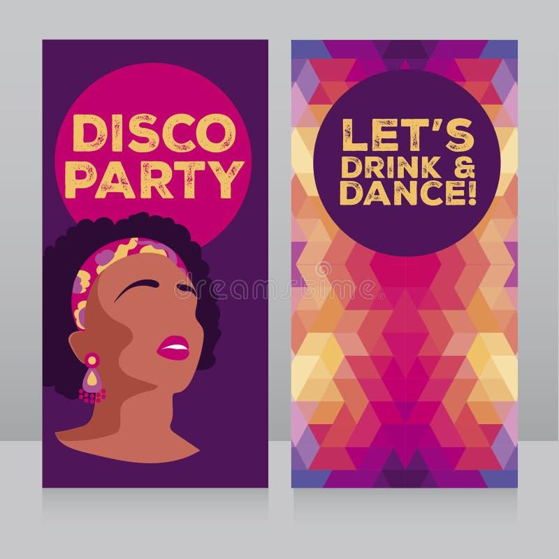 mallar för diskoparti med 80-tal utformar afrikansk amerikanflickan och den geometriska prydnaden royaltyfri illustrationer