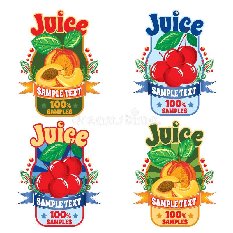 Mallar för etiketter av fruktsaft från persikan och körsbär arkivbild