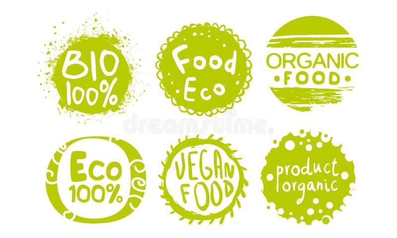Mallar in för etiketter för sund organisk naturlig lantgårdmat ställde gröna, illustrationen för vektorn för Eco den Bio produkte vektor illustrationer