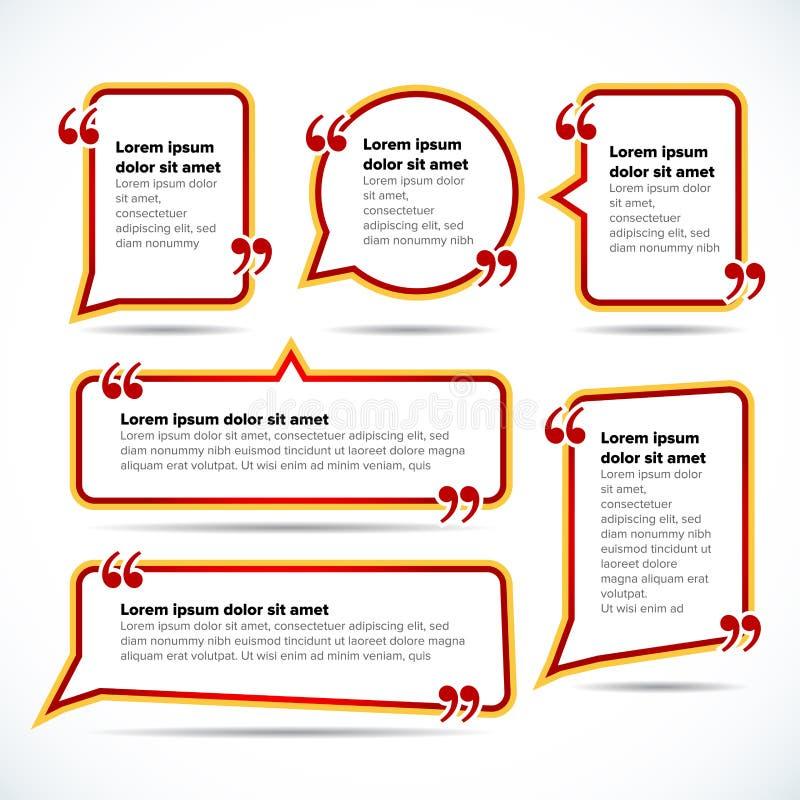 Mallar för färgcitationsteckenmellanrum Citationsteckenbubbla Tom mall Cirkla mallen för affärskortet, pappersarket, information, stock illustrationer