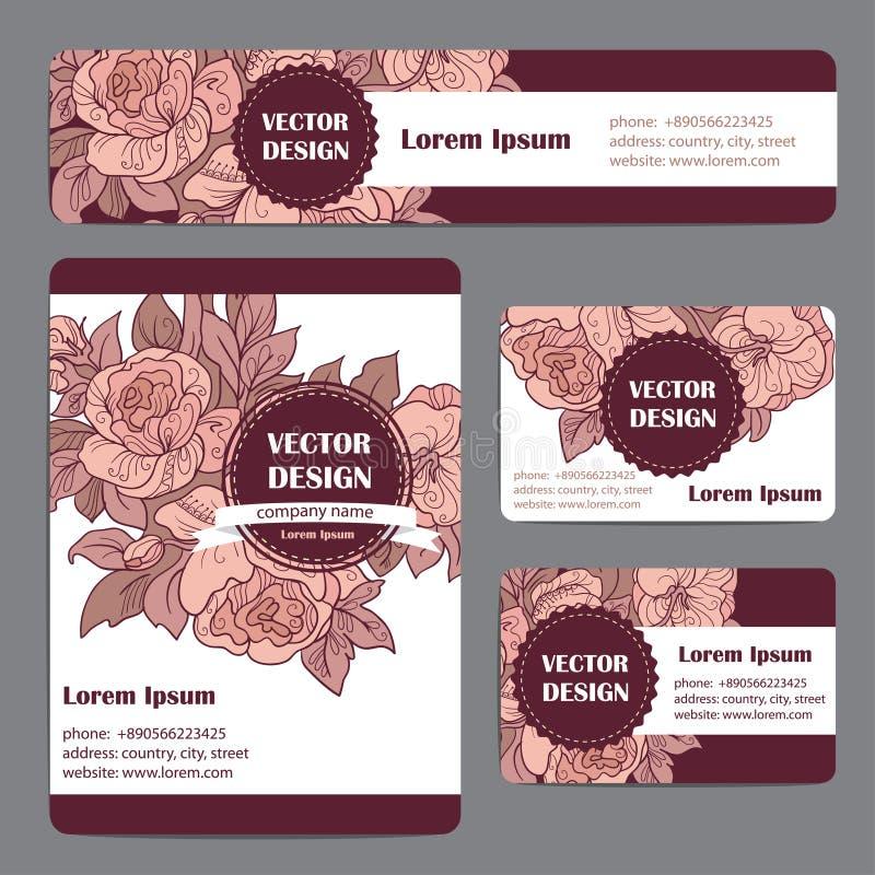 Mallar för företags identitet ställde in med blom- tema för klotter stock illustrationer
