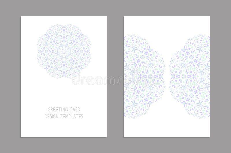 Mallar för hälsa och affärskort, broschyrer, räkningar med blom- motiv Österlänningen mönstrar mandala vektor illustrationer