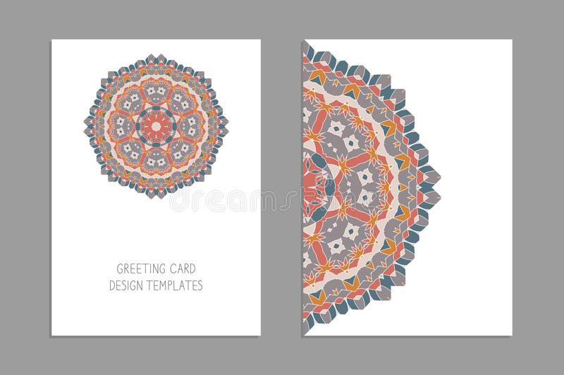 Mallar för hälsa och affärskort, broschyrer, räkningar med blom- motiv Österlänningen mönstrar mandala royaltyfri illustrationer