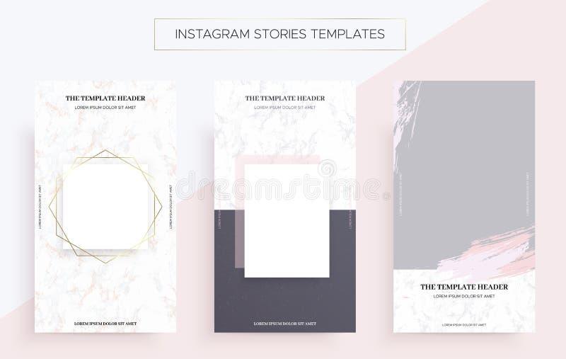 Mallar för Instagram berättelsebaner med marmor royaltyfri illustrationer