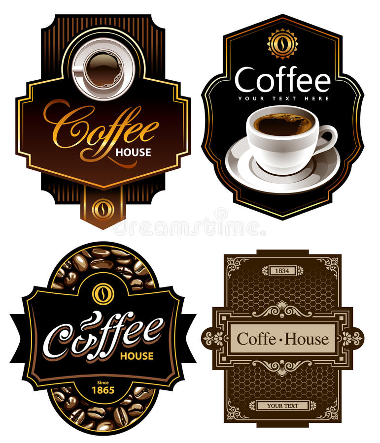 mallar för kaffedesign fyra vektor illustrationer