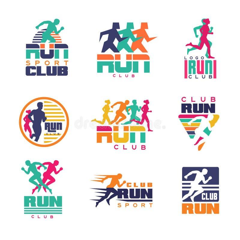 Mallar för logo för körningssportklubba ställde in, emblem för färgrik vektor för för för sportorganisationer, turneringar och ma royaltyfri illustrationer