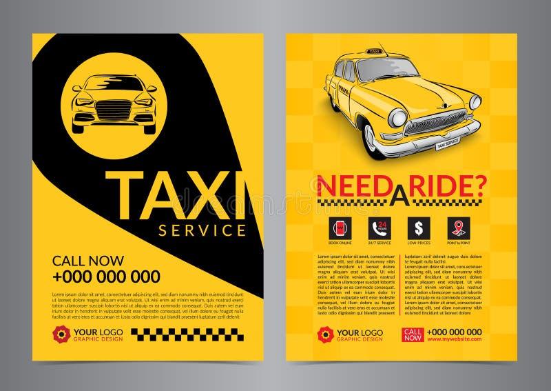Mallar för orientering för design för taxiuppsamlingsservice För taxibegrepp för appell A4 reklamblad stock illustrationer