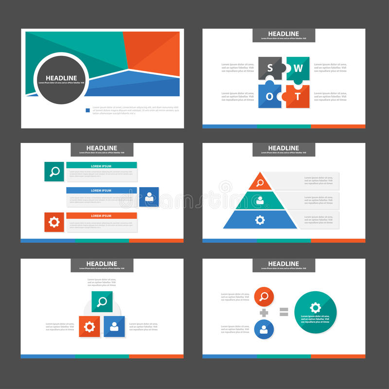 Mallar för presentation för beståndsdel och för symbol för gröna apelsinblått sänker infographic designuppsättningen för website  royaltyfri illustrationer