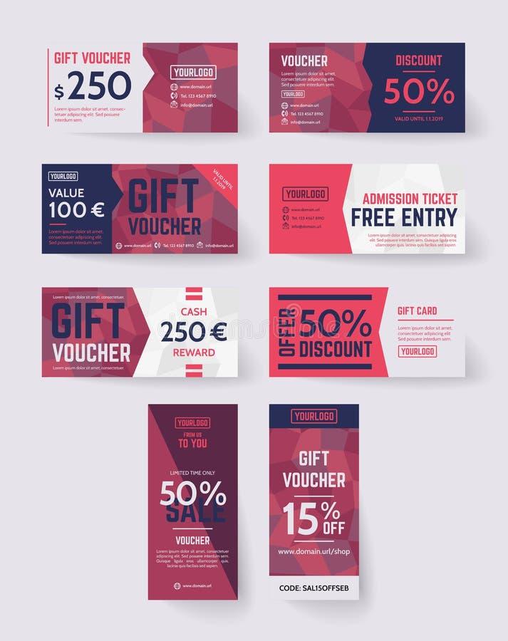 Mallar för presentkort för polygonvektorstil arkivfoton