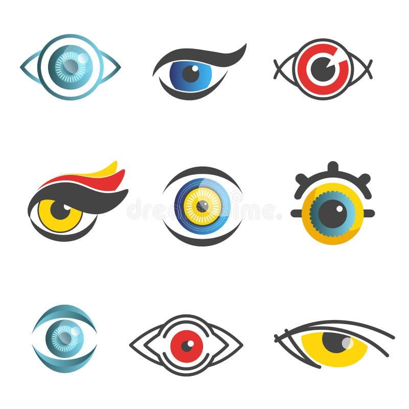Mallar för symboler för teknologi för ögonvektoroftalmologi isolerade den optiska ögonlägenhetuppsättningen royaltyfri illustrationer