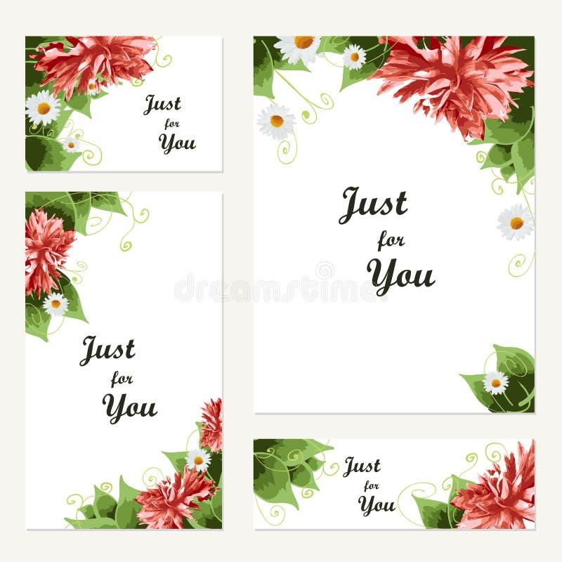 Mallar för tappningvektorkort Hälsningvykort med blom- ele stock illustrationer