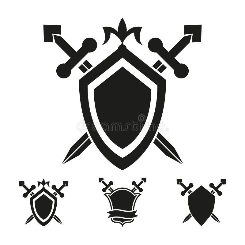 Mallar för vapensköldriddaresköld vektor illustrationer
