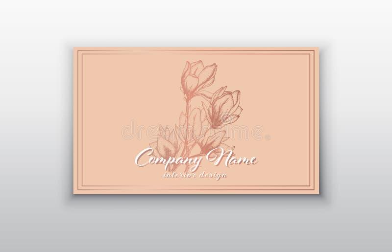 Mallar för vektoraffärskort med rosa guld- blommor royaltyfri illustrationer