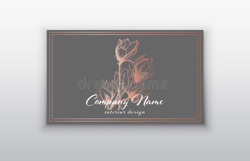 Mallar för vektoraffärskort med rosa guld- blommor stock illustrationer