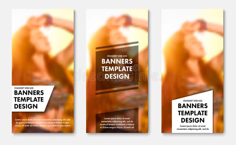 Mallar för vertikala rengöringsdukbaner med genomskinliga vita och svarta beståndsdelar för text royaltyfri illustrationer