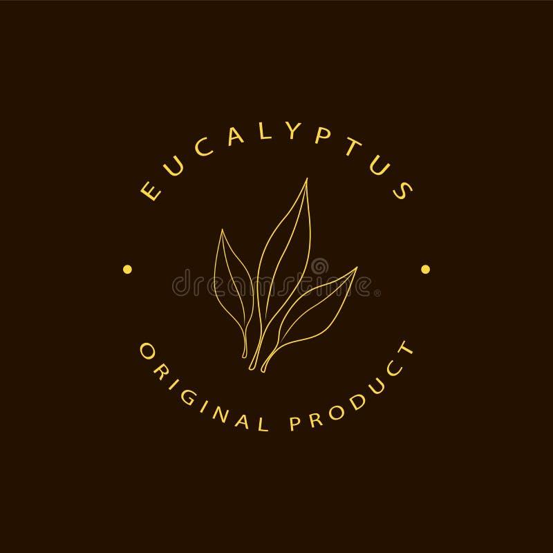 Mallar och emblem f?r design f?r vektoreukalyptuslogo Sk?nhet och sk?nhetsmedeloljor - eukalyptus Naturlig eukalyptus Logo i linj stock illustrationer