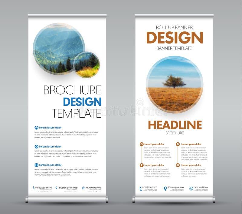 Mallar rullar upp baner med runda designbeståndsdelar med skugga för ditt foto eller avbildar vektor illustrationer