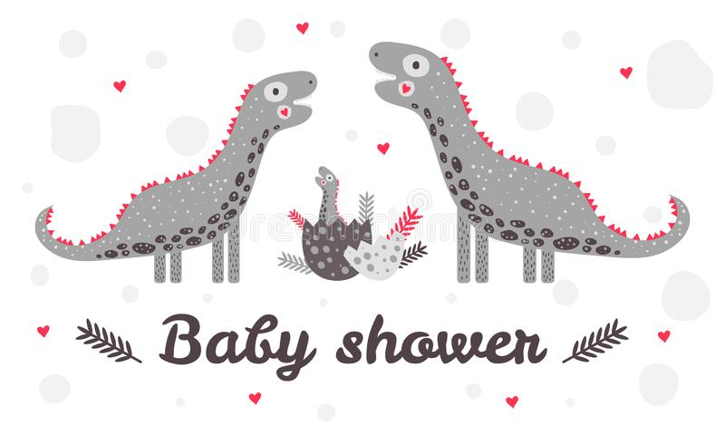 Mallbaby shower Gullig dinosaurie för barnkammare Moder, fader och barn biscay Ägg Röda gråa färger För hälsningkort vektor illustrationer