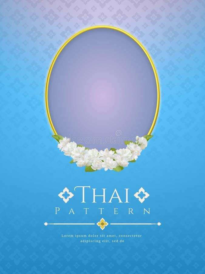 Mallbakgrund för moders dag Thailand med den moderna linjen traditionellt begrepp för thailändsk modell och härlig jasminflowe fö royaltyfri illustrationer