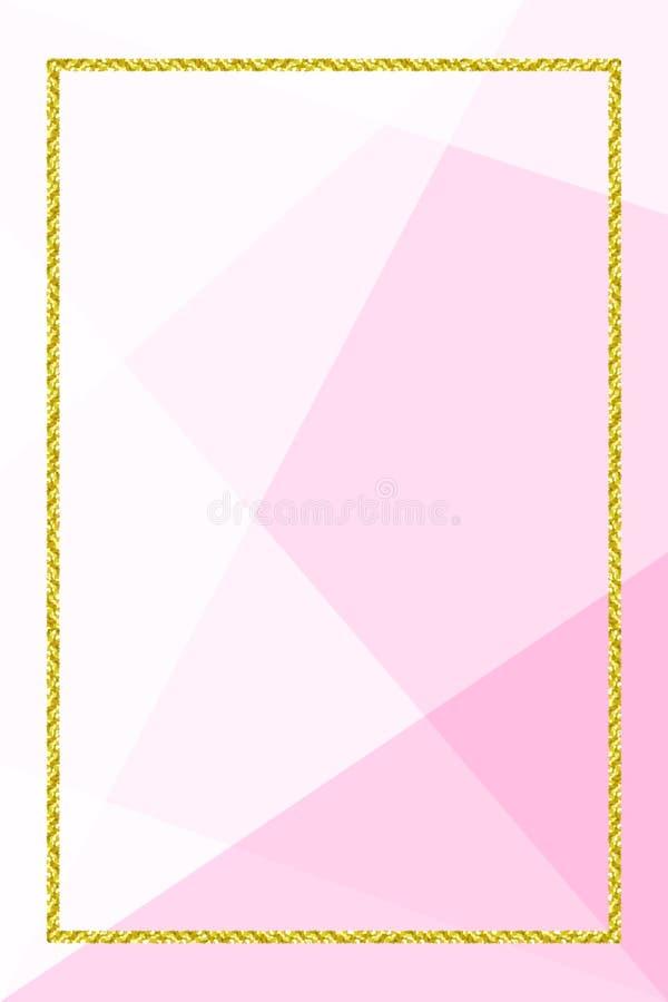 Mallbanret med guld- blänker ramen på mjuk rosa geometrisk bakgrund, blänker guld- ramrosa färger för annonsering av befordr stock illustrationer