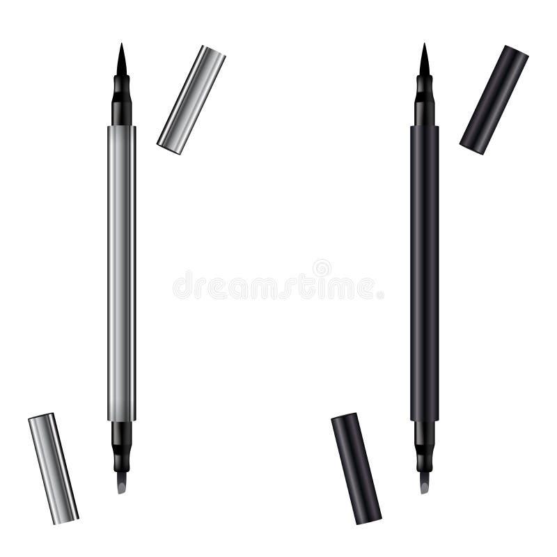 Mallblyertspenna f?r eyeliner 3d Realistisk penna f?r smink eyeliner crayon Metalliska eyelinerblyertspennor f?r kosmetisk makeup arkivfoto