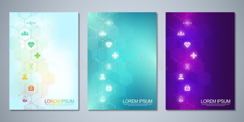 Mallbroschyr- eller räkningsdesign, bok, reklamblad, med medicinska symboler och symboler Sjukvård, vetenskap och medicin royaltyfri illustrationer