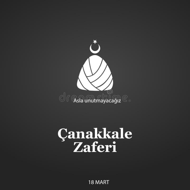 Malldesign av den nationella turkiska ferien av mars 15, 1915 dagen ottomansegern Canakkale översättning från turk stock illustrationer