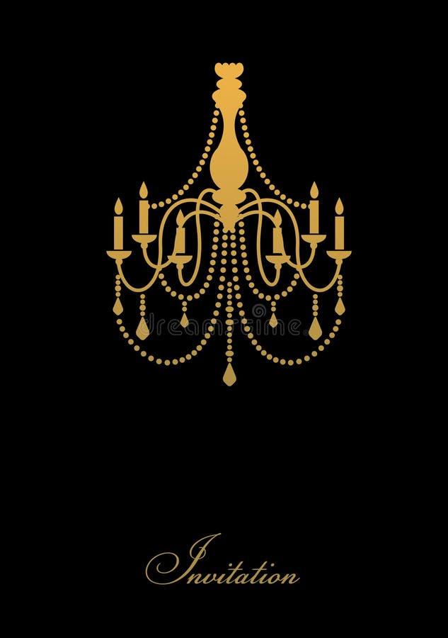 Malldesign av inbjudan med ljuskronan royaltyfri illustrationer