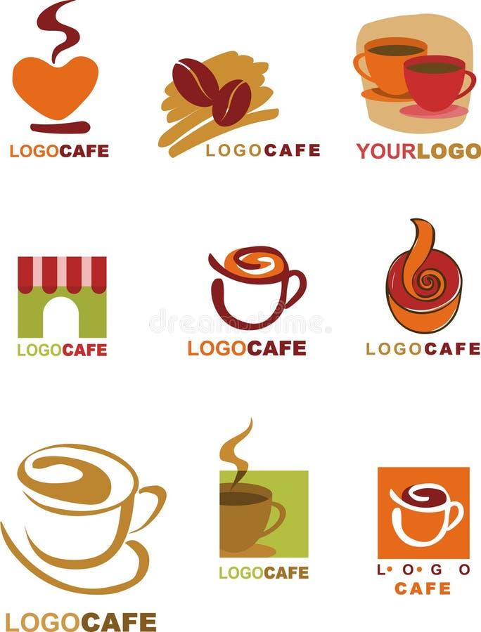 Malldesigner av logoen för coffee shop och resta royaltyfri illustrationer