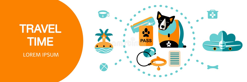Malldesignkort med plana stilsymboler av att resa med husdjuret stock illustrationer