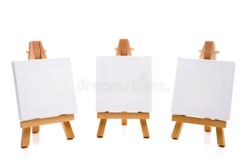 Malleinwand mit drei Weiß lizenzfreies stockfoto