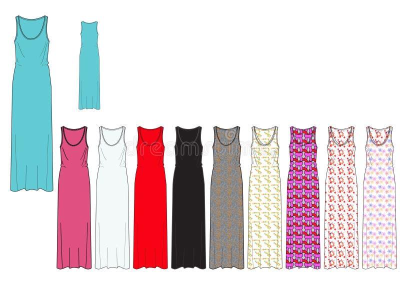 Mallen av den fulla längdkvinnlign Maxi Dress i heltäckande och AOP planlägger stock illustrationer