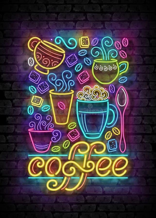 Mallen för affischen för kaffehustappning med koppar, virvlar runt varm ånga, Graines och socker royaltyfri illustrationer